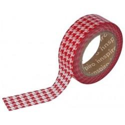 Cinta Adhesiva Washi Tape, Pata de Gallo Rojo