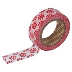 Cinta Adhesiva Washi Tape, Flores Rojas