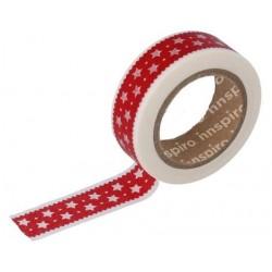 Cinta Adhesiva Washi Tape, Ribete Estrellas Rojo