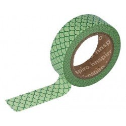 Cinta Adhesiva Washi Tape, Escamas Verde