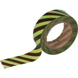 Cinta Adhesiva Washi Tape, Líneas Marrones-Verdes