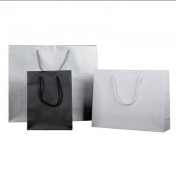 Bolsa Papel Estucado Plata/Blanco/Negro lujo